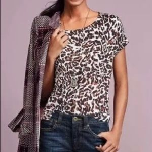 CAbi Cropped Leopard Print Tee Style 3414